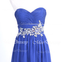 Strapless Sweetheart with Crystal and Beaded Royal Blue Chiffon Long Prom Dresses, Wedding Party Dresses, Evening Gown, Homecoming Dresses