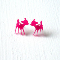 Deer Stud Earrings : Kawaii Pink Laser Cut Bambi