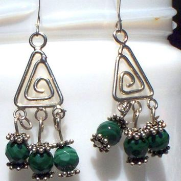 Malachite Chandelier Earrings by lindab142 on Etsy