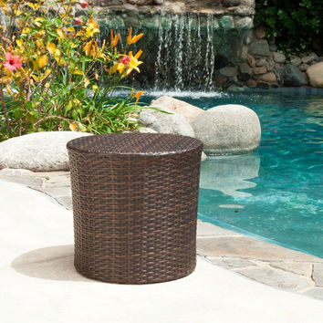 Wicker Rattan Barrel Side Table Patio Furniture Best Choice Products Outdoor