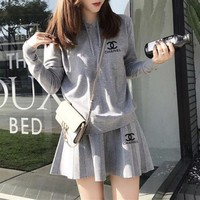 DCCK6HW Chanel' Women Sport Casual Knit Hooded Long Sleeve Sweater Short Skirt Set Two-Piece