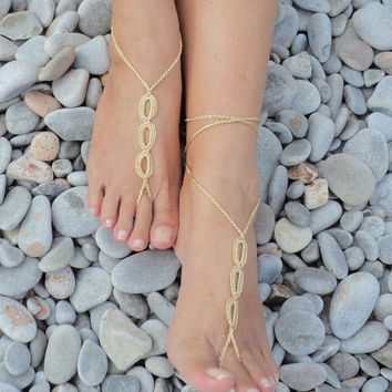 5 PAIRS Crochet Barefoot Sandals in Gold Rings Design,Wedding Favors,Foot Jewelry,Toe Ring,Nude Shoes.