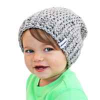 Grey Baby Beanie Crochet Slouch Baby Beanie Any Size 0-24 Fitted or Slouchy style