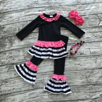 Fall/winter baby clothes boutique black  pink striped outfits clothing pant long sleeves ruffles matching bow and necklace
