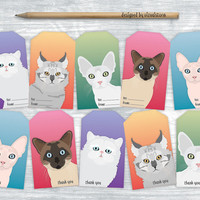 Kitty Cat Gift Tags, Digital Cat Hang Tags Collage Sheet, Illustrated Pet Tags, Colorful Cat Thank You Tags, Holiday, Birthday Gift Wrapping