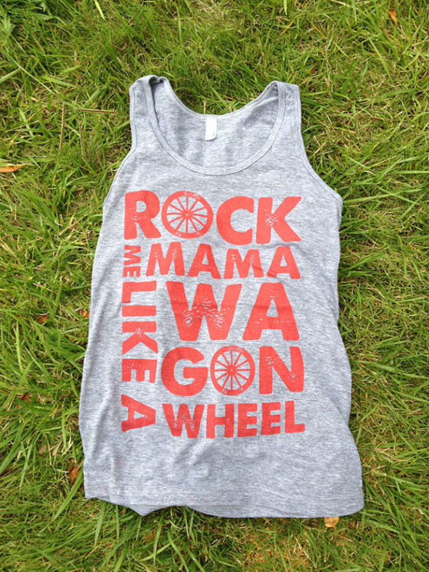 "Rock Me Mama Like a Wagon Wheel - Tank top - ""Athletic Grey"" and Rust ink - Old Crow Medicine Show"