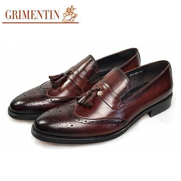 GRIMENTIN Brand Italian fashion genuine leather mens shoes sales with tassel slip on designer male wedding shoes men loafers