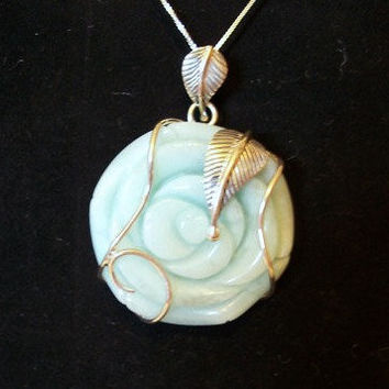 HUGE Amazonite Sterling Silver Rose Jewelry Pendant Hardcarved Wirewrapped Huge Pendant