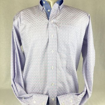 Men's Blue & Pink Basketweave Western Shirt