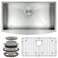 AKDY Handcrafted All-in-One Farmhouse Apron Front Stainless Steel 33 in. x 20 in. x 9 in. Single Bowl Kitchen Sink-HD-KS0063 - The Home Depot