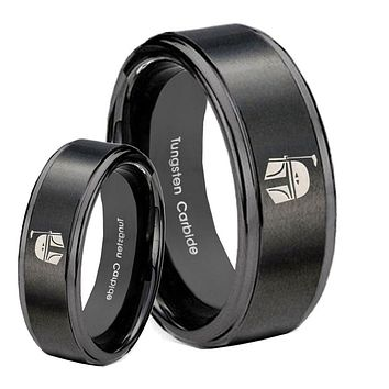 His Hers Step Edge Star Wars Boba Fett Sci Fi Science Black Tungsten Wedding Rings Set