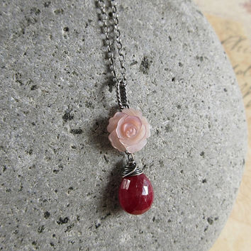 Teardrop Ruby Pendant, Pink Rose Necklace, Sterling Silver, Genuine Ruby Necklace, Mother Of Pearl Flower, Birthstone Jewelry