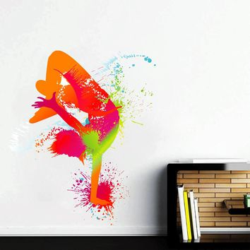 cik121 Full Color Wall decal Break dancer dancing spray paint room Bedroom