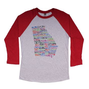 Georgia Cities and Towns Raglan Tee Shirt in Red by Southern Roots