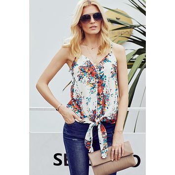 White Floral Sleeveles Summer Cami Top