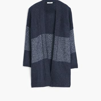 Flecked panels cardigan