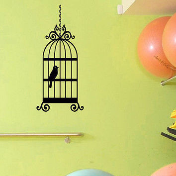 WALL DECAL VINYL STICKER ANIMAL BIRD CAGE BIRDCAGE DECOR SB567