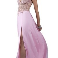 Jasz Couture 5023 Beaded Halter Prom Dress, Nude Pink, 2