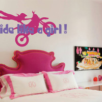 "Girls Motocross Name Decal - Motorcycle - Nursery - Dirtbike Ride like a girl - Boy or Girls room 22""H x 36""W"