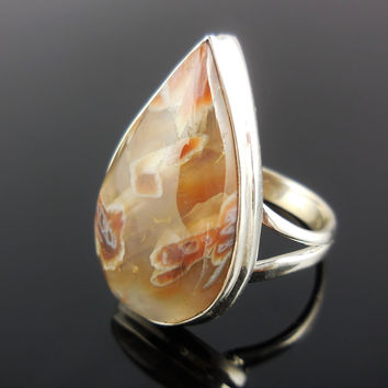 Tube Agate Sterling Silver Ring - Size 8.75