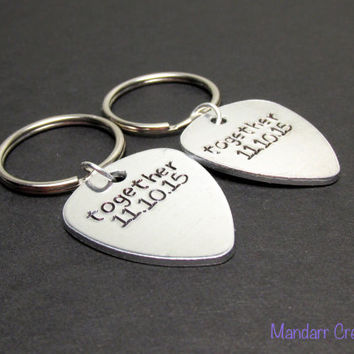Keychains for Couples, Together with Custom Anniversary Dates, Hand Stamped Aluminum Key Chains