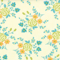 Cream Blue Medium Flower Fabric - Chance of Flowers - Moda - Sandy Gervais