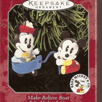 Licensed cool Disney HALLMARK Make Believe Boat Mickey Minnie Christmas Keepsake Ornament NEW