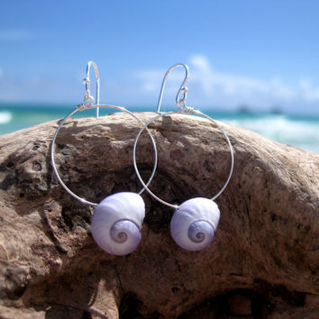 Hawaiian Large Lavender Violet Snail Shells (Mermaid's Tears) on 925 Sterling Silver Circular Wire Small Hoop Earrings