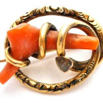 Antique Coral Brooch, 14K Gold, Victorian Jewellery, Branch Coral Pin, Coral Jewelry, Antique Coral Pin, Fashion Jewelry