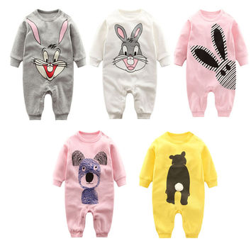 Fashion Autumn Winter Newborn baby clothes Long sleeved printing baby romper warm cotton baby Boys Girls clothes