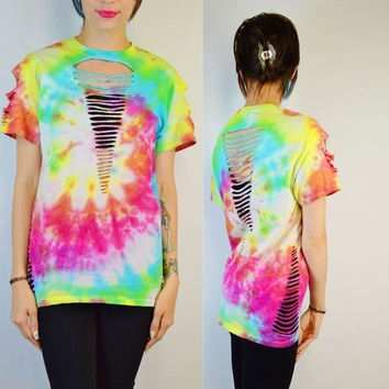 Tie Dye Shirt Soft Grunge Slit Slice Rainbow Hippie Festival Womens Handmade Clothing Cut Distressed Small Medium Groovy Psychedelic Boho