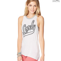 Womens Tokyo Darling Lovely Muscle Tank Top - White