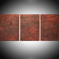 """ARTFINDER: - Red vanquish - three piece extra large triptych 3 panel wall art painting big canvas wall abstract canvas impasto modern 54 x 24"""" by Stuart Wright - """" Red Vanquish """" impasto modern art piece for h..."""