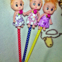 cute kewpie vintage  retro style doll dot pen YOU CHOOSE