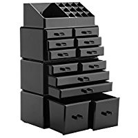 Readaeer Makeup Cosmetic Organizer Storage Drawers Display Boxes Case with 12 Drawers(Black)