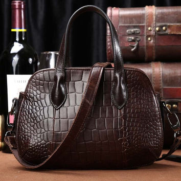 Luxury Alligator Pattern Genuine Cow leather women handbags Small shoulder messenger bags Vintage noble women bag