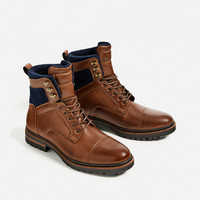 BROWN WORKER BOOTS DETAILS