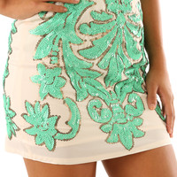 Crystal Ball Skirt: Cream/Mint