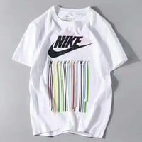 Fashion NIKE  colorful  stripe print short sleeve loose tee top H-A-GHSY-1