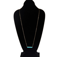 Turquoise Bar Long Necklace