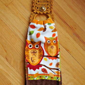 Crochet Towel Holder with towel, Fall / Thanksgiving Kitchen Towel/holder