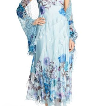 Komarov Floral Chiffon Gown with Shawl (Regular & Petite) | Nordstrom