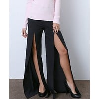 Split Ending Pants - Black