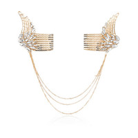 River Island Womens Gold tone crystal angel wings hair clips