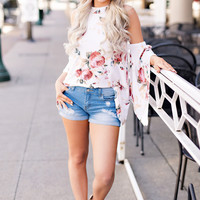 Dreamy Morning High Neck Off The Shoulder Bell Sleeve Floral Top (Ivory)