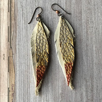 Long Gold Leather Earrings, Tribal Boho, Layered Feather Earrings, Natural leather, Hypoallergenic safe ear wire, metallic foil painted