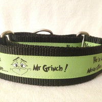 Nylon w/Mr Grinch Ribbon Martingale or Quick Release Collar