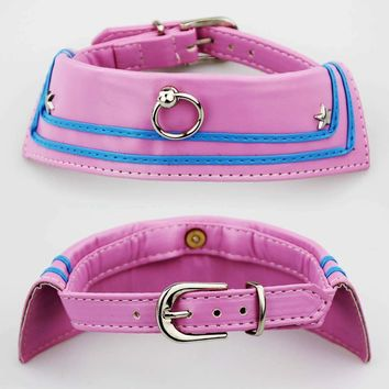 [GIIWIN] Pet Puppy Cat Collar PU Leather for Small Dog Adjustable Collar Leash Set Solid Pink Training Collars Chihuahua YS0004