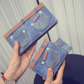 New Fashion Canvas Jeans Wallet Women Retro Denim Multifunction Long Coin Purse Card Holder For Girls Female Short Clutch Wallet