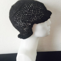 handknit hat black hat crochet hat soft yarn flower patter hat woman accesories